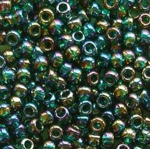 Toho 8/0 Seed Beads Trans Rainbow Green Emerald 179 - 10 grams